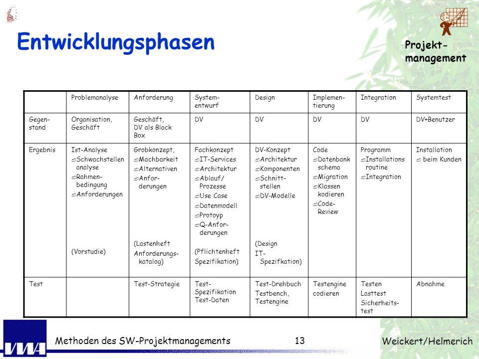 Projekt- management Weickert/Helmerich Methoden des SW-Projektmanagements12 Vergleich: Lösungsprozesse Implementierung Rohversionen Grobkonzept Gliede