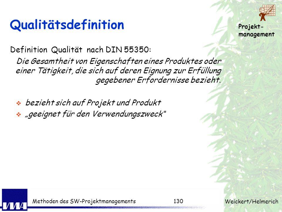 Projekt- management Weickert/Helmerich Methoden des SW-Projektmanagements129 PM-Techniken pro Phase Produktstruktur, Projektstruktur, Arbeitspaket, Sc