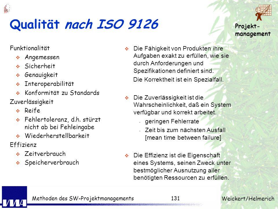 Projekt- management Weickert/Helmerich Methoden des SW-Projektmanagements130 Qualitätsdefinition Definition Qualität nach DIN 55350: Die Gesamtheit vo