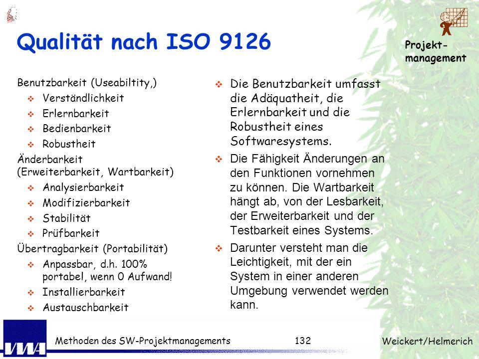Projekt- management Weickert/Helmerich Methoden des SW-Projektmanagements131 Qualität nach ISO 9126 Funktionalität Angemessen Sicherheit Genauigkeit I