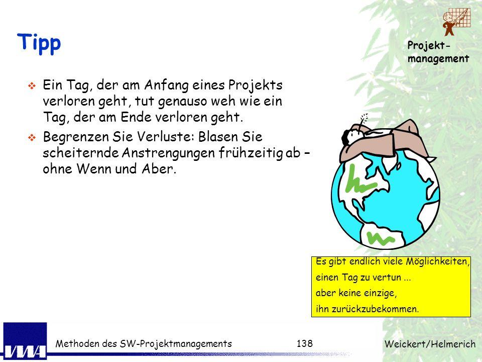 Projekt- management Weickert/Helmerich Methoden des SW-Projektmanagements137 Gründe für erfolgreiche Projekte 1.Einbindung der Nutzer 15,9% 2.Unterstü