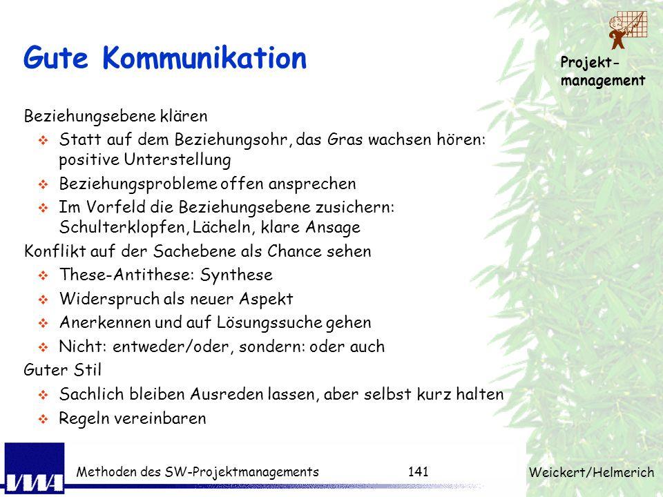 Projekt- management Weickert/Helmerich Methoden des SW-Projektmanagements140 7. Übungsaufgabe: Hören sie auf allen 4 Ohren! in 2er Gruppen 15 min Zeit