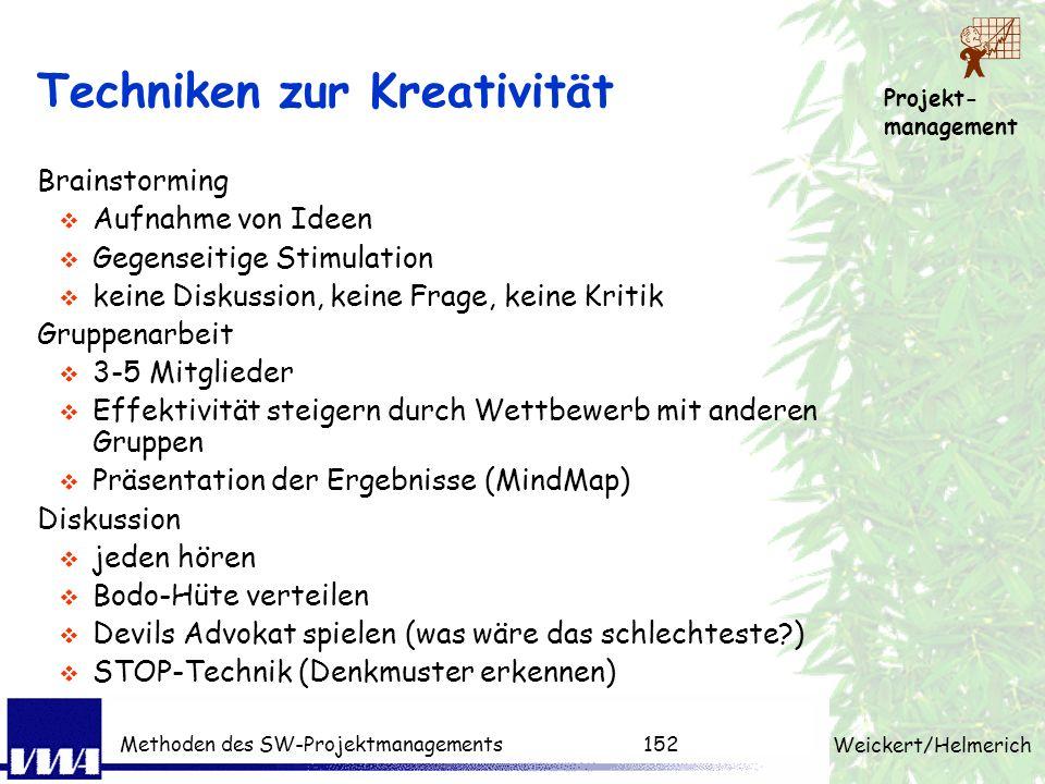 Projekt- management Weickert/Helmerich Methoden des SW-Projektmanagements151 Konfliktsymptome Angriff (verbal) - Widerspruch - Vorwurf - Drohung - Neb