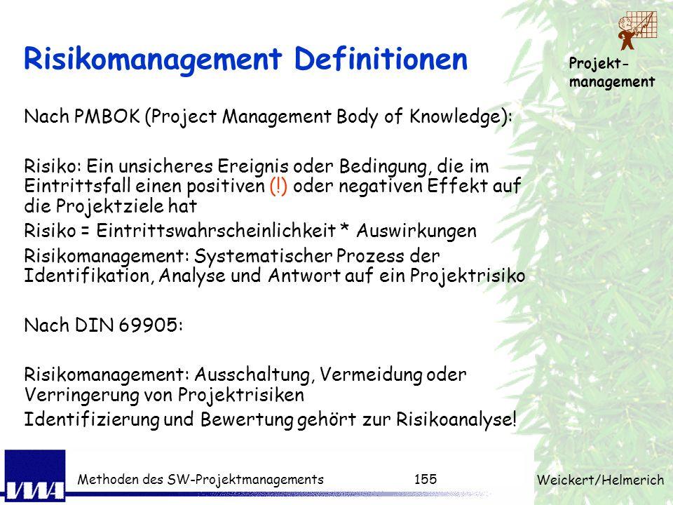 Projekt- management Weickert/Helmerich Methoden des SW-Projektmanagements154 Motivation für Risikomanagement Ursachen für unzufriedene Kunden (zu spät