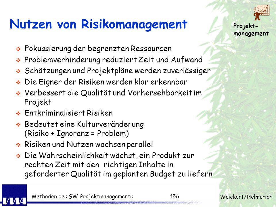 Projekt- management Weickert/Helmerich Methoden des SW-Projektmanagements155 Risikomanagement Definitionen Nach PMBOK (Project Management Body of Know