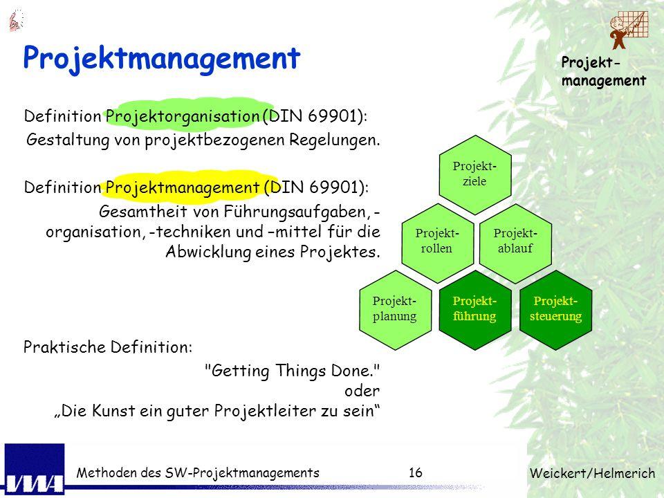 Projekt- management Weickert/Helmerich Methoden des SW-Projektmanagements15 Projekt + Management Projekt einmalig komplex begrenzt (TQK) Management pl