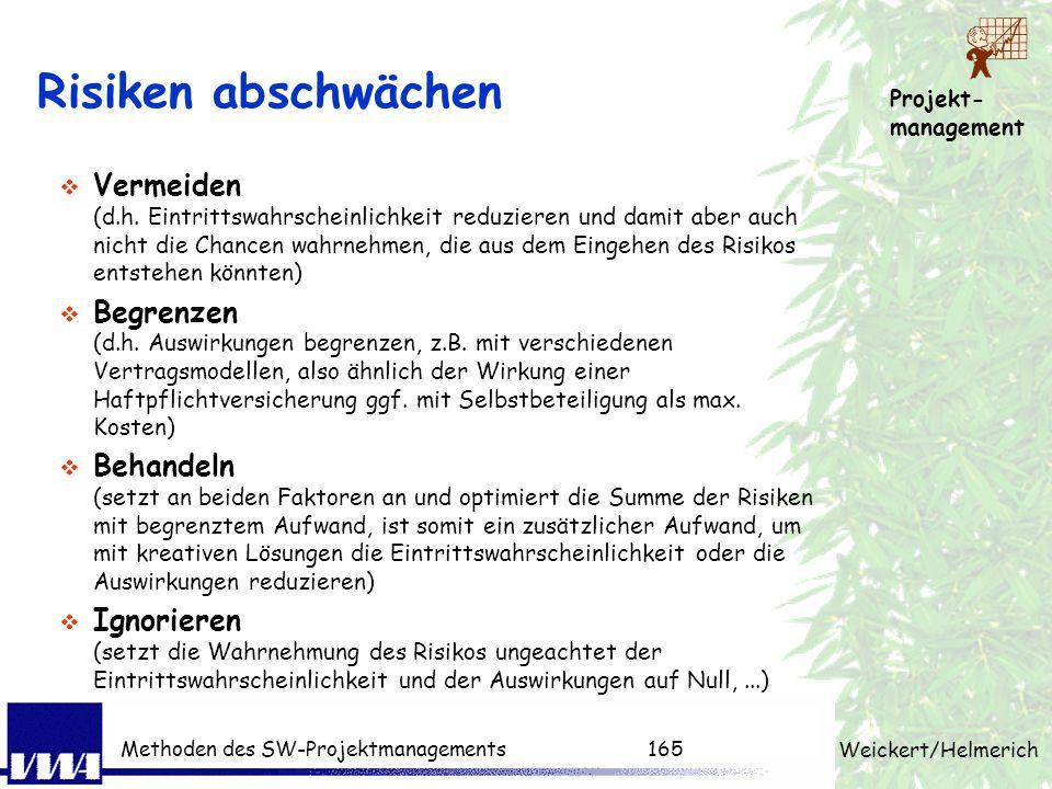 Projekt- management Weickert/Helmerich Methoden des SW-Projektmanagements164 Risikobewertung: Rechenbeispiel Risikoeintritt: Wahrscheinlichkeit und Ve