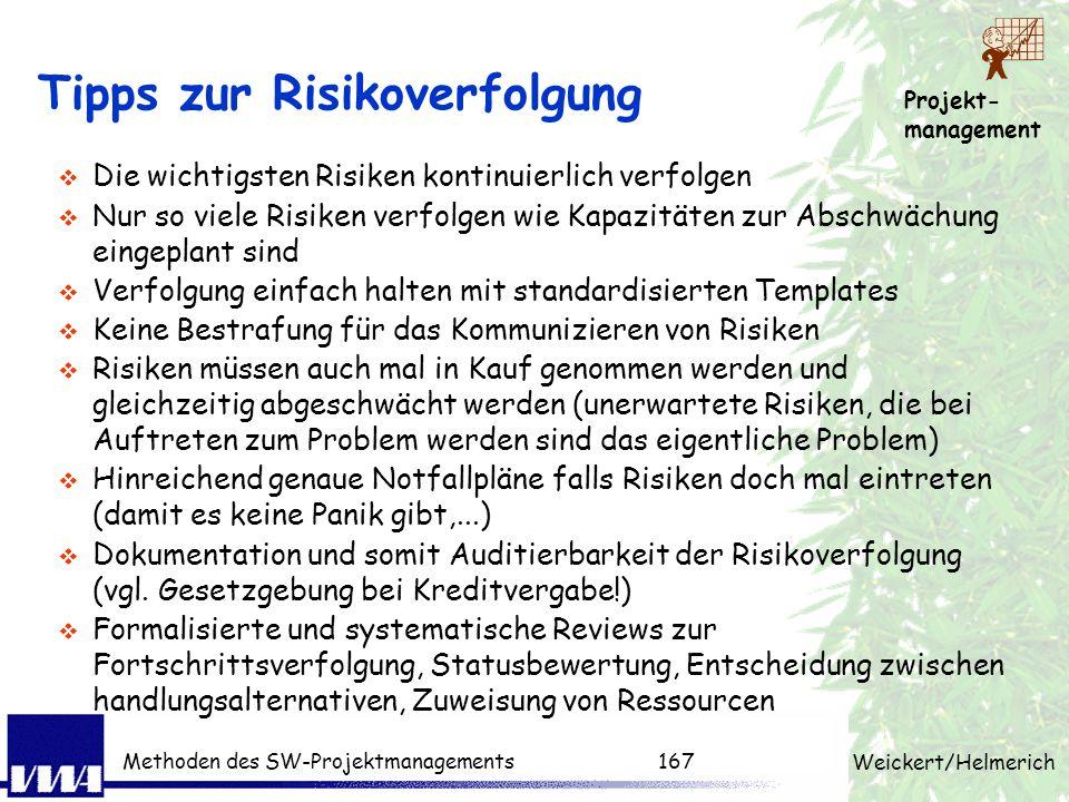 Projekt- management Weickert/Helmerich Methoden des SW-Projektmanagements166 Risiken verfolgen Grundfragen: Greifen die vereinbarten Aktionen zur Absc