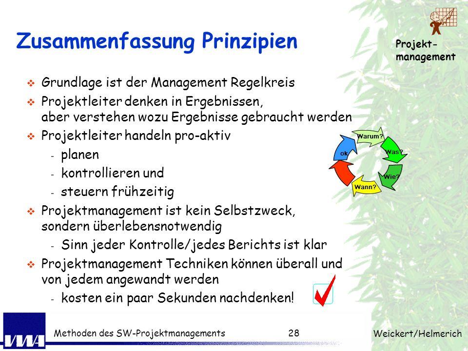 Projekt- management Weickert/Helmerich Methoden des SW-Projektmanagements27 Mini-Quiz Was ist die Definition von einem Projekt? Wie unterscheidet es s