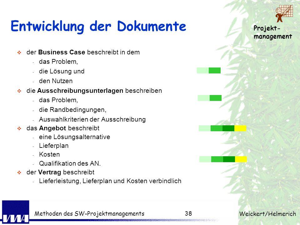 Projekt- management Weickert/Helmerich Methoden des SW-Projektmanagements37 Struktur des Vertrags