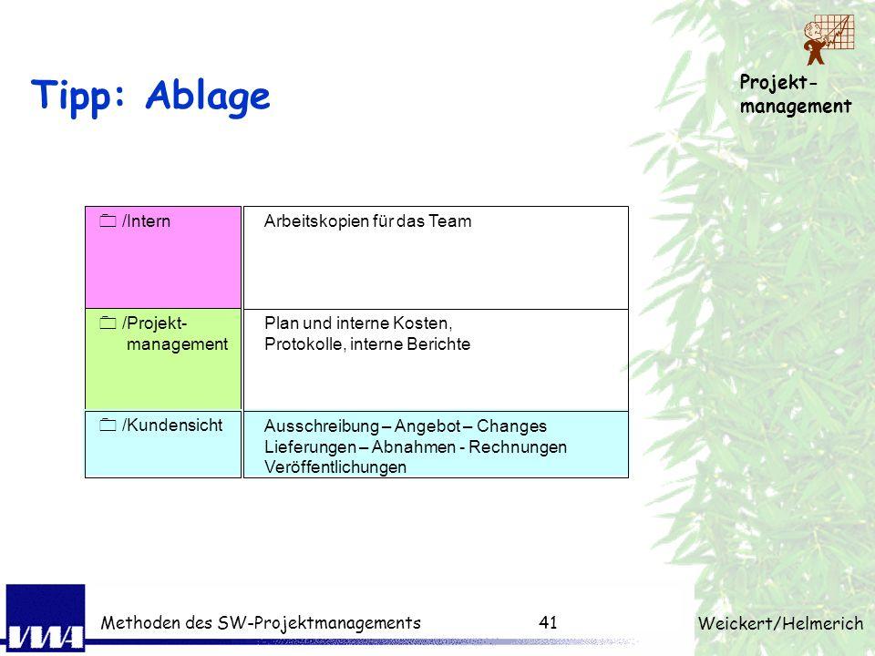 Projekt- management Weickert/Helmerich Methoden des SW-Projektmanagements40 Dokumente der 3 Ebenen Dokumente vertragliche Ebene Projekt Ebene Fachlich