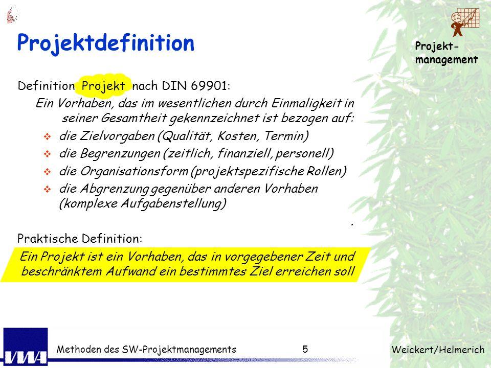 Projekt- management Weickert/Helmerich Methoden des SW-Projektmanagements4 Gründe für das Scheitern.. 1. unvollständige Anforderungen 13,1% 2. fehlend