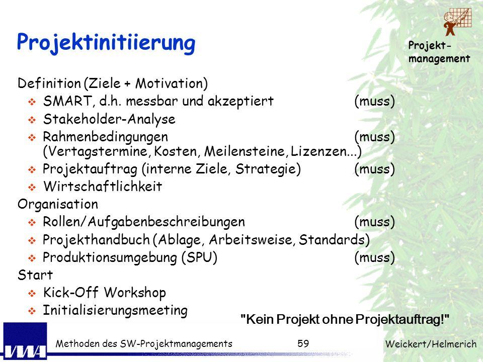 Projekt- management Weickert/Helmerich Methoden des SW-Projektmanagements58 Übungsaufgabe Was sind Ihre ersten Schritte als Projektleiter? Phase: Proj