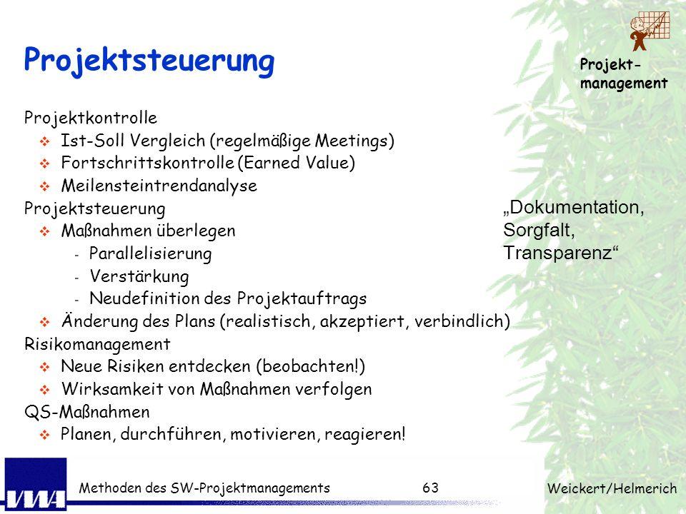 Projekt- management Weickert/Helmerich Methoden des SW-Projektmanagements62 Projektplanung - Abhängigkeiten Aufwand pro Aufgabe Meilenstein definieren