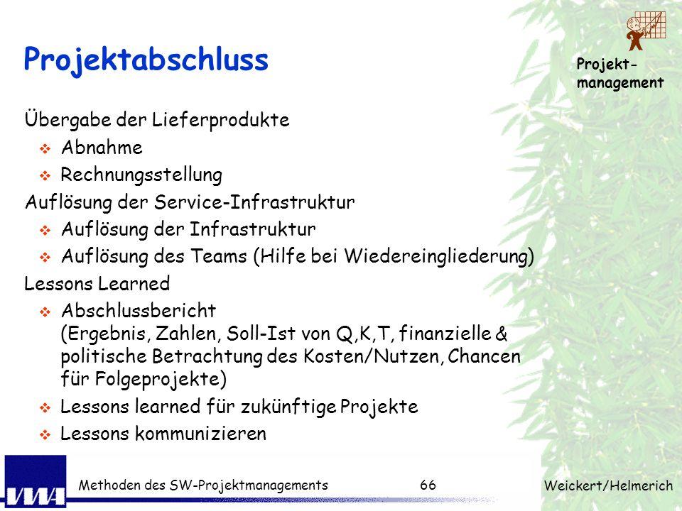 Projekt- management Weickert/Helmerich Methoden des SW-Projektmanagements65 Steuerung á la Regelkreis Aufnahme des Problems nicht den Boten bestrafen
