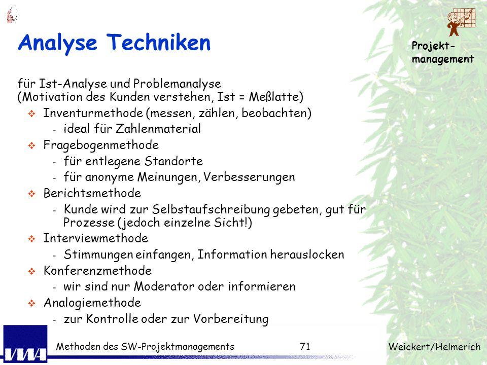Projekt- management Weickert/Helmerich Methoden des SW-Projektmanagements70 PM-Techniken pro Phase Produktstruktur, Projektstruktur, Arbeitspaket, Sch