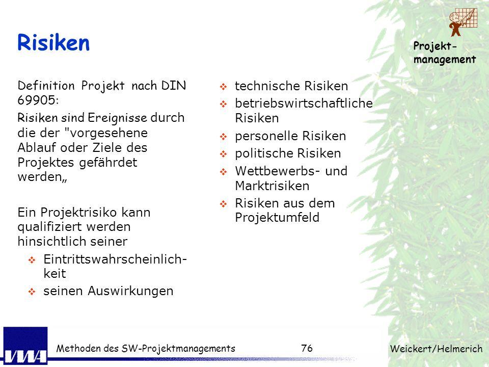 Projekt- management Weickert/Helmerich Methoden des SW-Projektmanagements75 Klassifizieren der Risiken Wahrscheinlichkeit Schaden Budgetüberschreitung