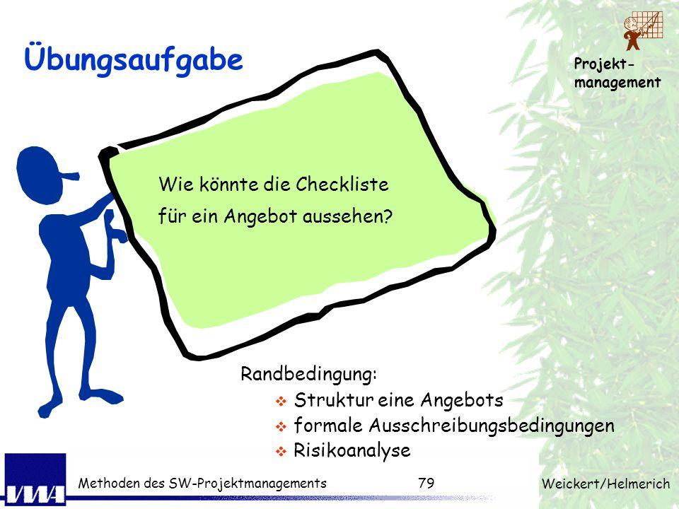Projekt- management Weickert/Helmerich Methoden des SW-Projektmanagements78 Vertragstypen Werkvertrag (§631 BGB) Herstellung eines Werkes Garantie für