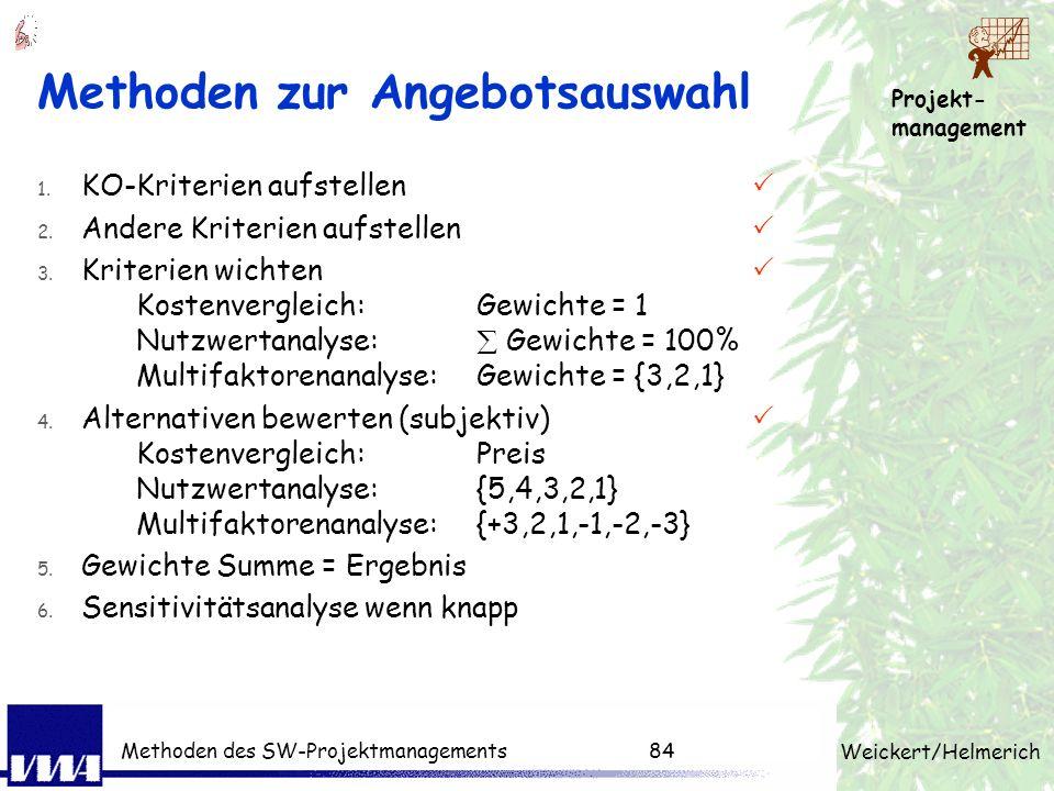 Projekt- management Weickert/Helmerich Methoden des SW-Projektmanagements83 Multifaktorenmethode Beispiel: Einführung EDV im Lagerwesen Bewertung: +3