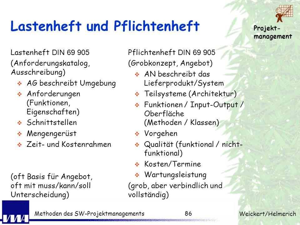 Projekt- management Weickert/Helmerich Methoden des SW-Projektmanagements85 PM-Techniken pro Phase Produktstruktur, Projektstruktur, Arbeitspaket, Sch