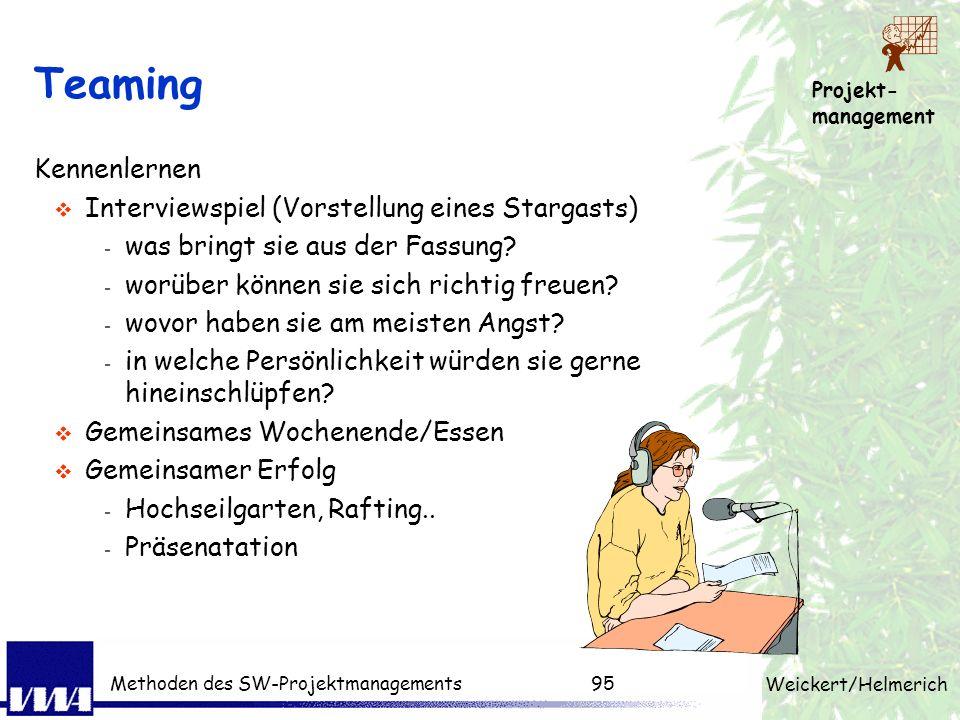 Projekt- management Weickert/Helmerich Methoden des SW-Projektmanagements94 Reine Projektorganisation Vorteile konzentrierte Projektinitialisierung ho