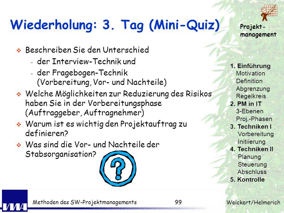 Projekt- management Weickert/Helmerich Methoden des SW-Projektmanagements98 Aufgaben PL - Projektmitarbeiter Projektleiter muss... planen - strukturie