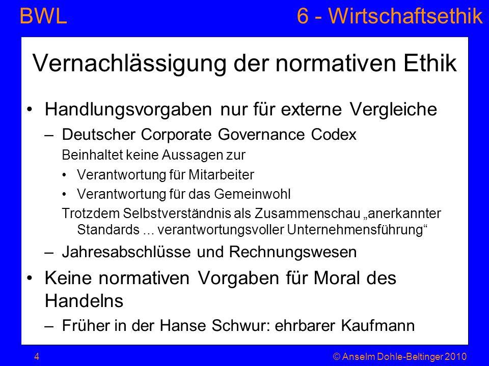 BWL 6 - Wirtschaftsethik © Anselm Dohle-Beltinger 20105 Reicht das auch.