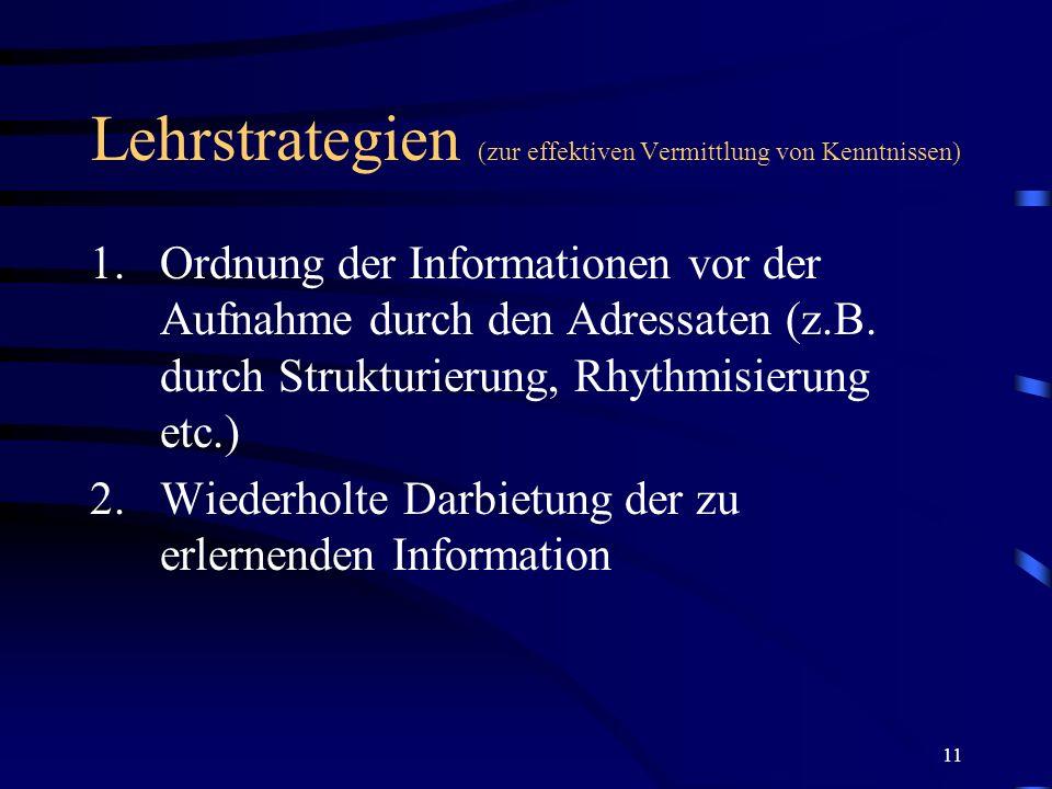 11 Lehrstrategien (zur effektiven Vermittlung von Kenntnissen) 1.Ordnung der Informationen vor der Aufnahme durch den Adressaten (z.B. durch Strukturi