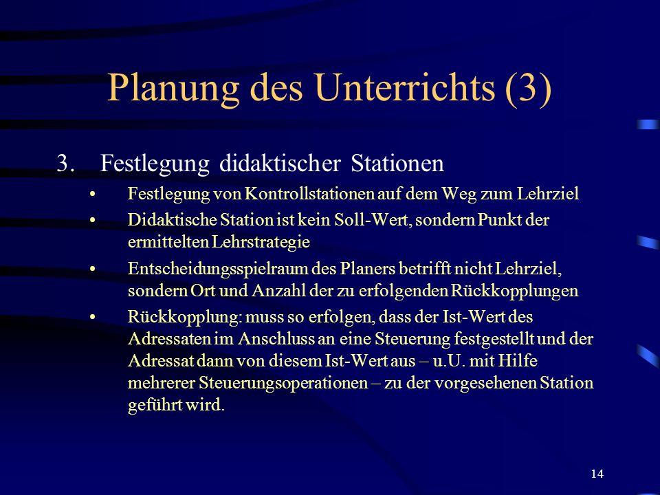 14 Planung des Unterrichts (3) 3.Festlegung didaktischer Stationen Festlegung von Kontrollstationen auf dem Weg zum Lehrziel Didaktische Station ist k
