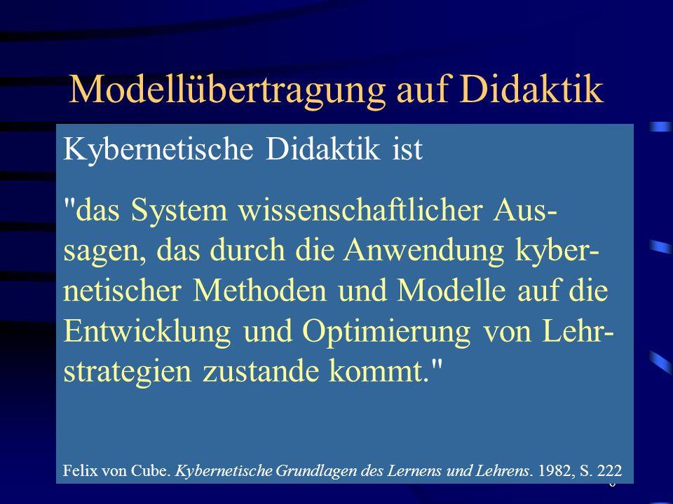 7 Regelkreismodell (Cube, 1982, 350) Zielplanung Strategieplanung Medienplanung Kontrollplanung Verlaufsplanung Soll-Wert = Lehrziel; umfasst Erziehungs- (affektive Lehrziele) und Ausbildungsziele (kognitive oder pragmatische LZ) Regler = Erzieher/Ausbilder, der als Strate- ge eine best.