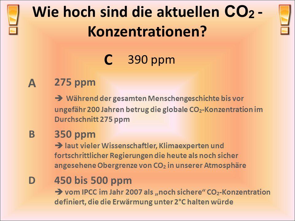 Wie hoch sind die aktuellen CO 2 - Konzentrationen? C 390 ppm A 275 ppm Während der gesamten Menschengeschichte bis vor ungefähr 200 Jahren betrug die