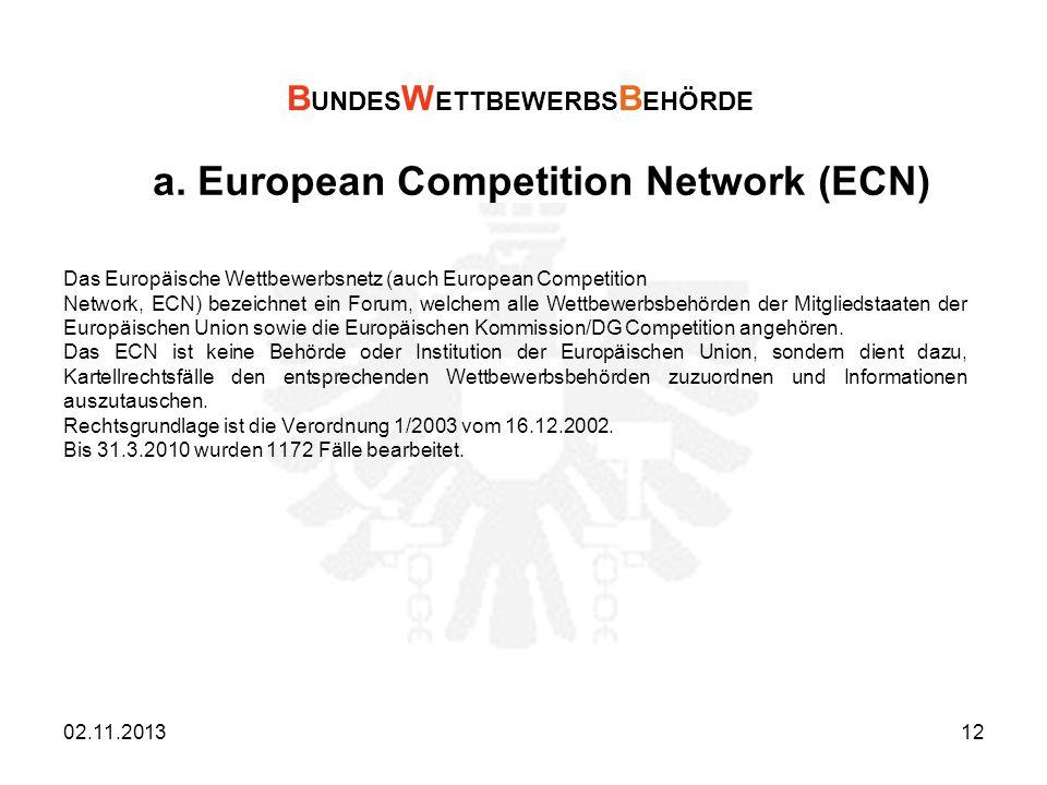 a. European Competition Network (ECN) Das Europäische Wettbewerbsnetz (auch European Competition Network, ECN) bezeichnet ein Forum, welchem alle Wett