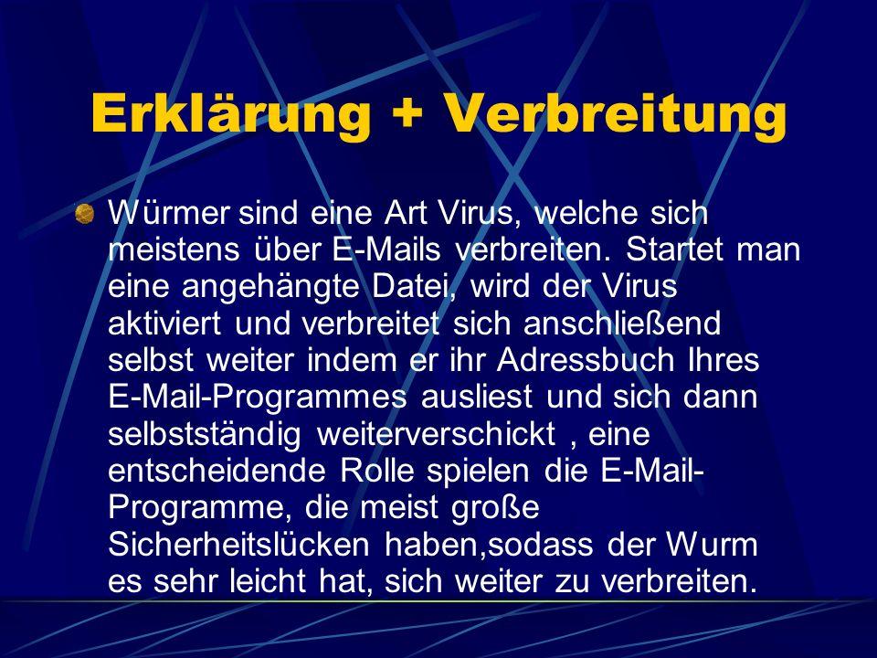 Erklärung + Verbreitung Würmer sind eine Art Virus, welche sich meistens über E-Mails verbreiten. Startet man eine angehängte Datei, wird der Virus ak