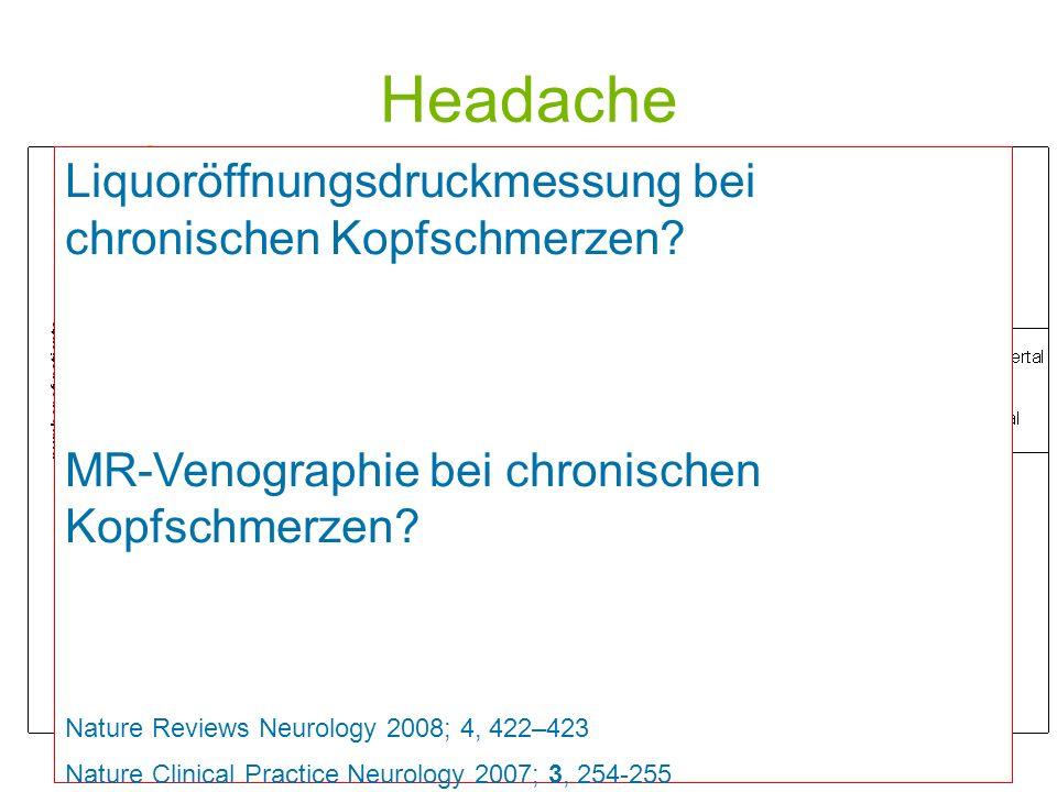 Headache Prebubertal: 53% d.F. Pubertal: 79% d.F. Liquoröffnungsdruckmessung bei chronischen Kopfschmerzen? MR-Venographie bei chronischen Kopfschmerz