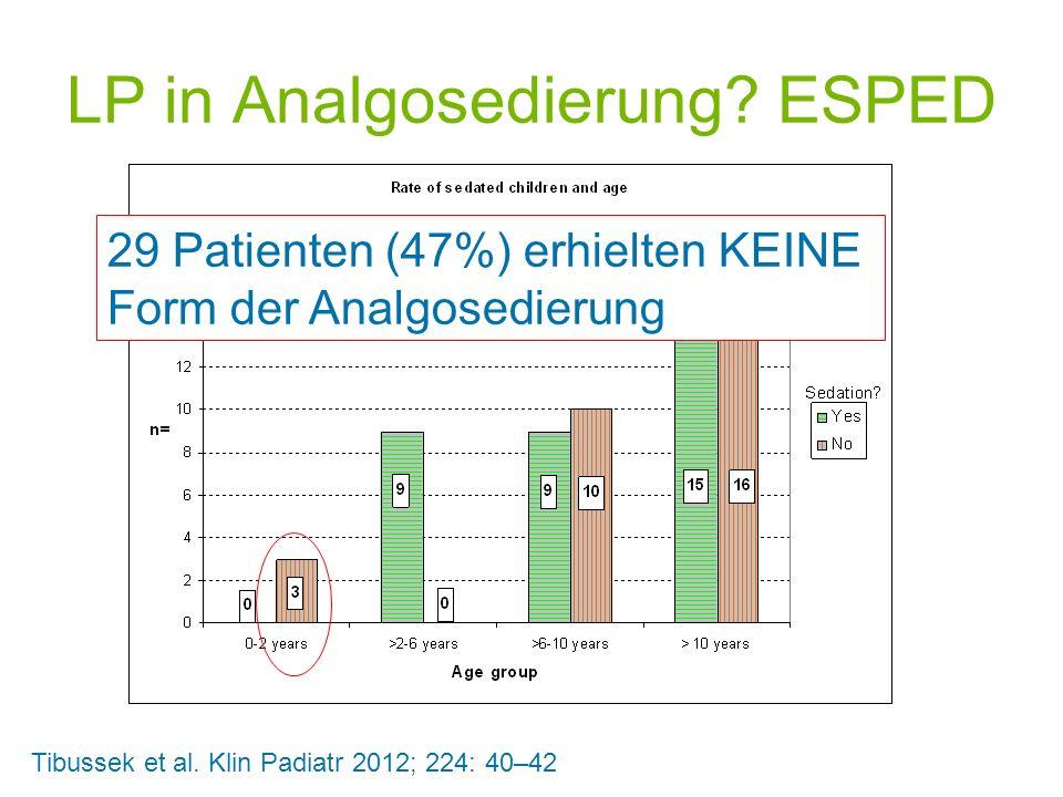 LP in Analgosedierung? ESPED Tibussek et al. Klin Padiatr 2012; 224: 40–42 29 Patienten (47%) erhielten KEINE Form der Analgosedierung