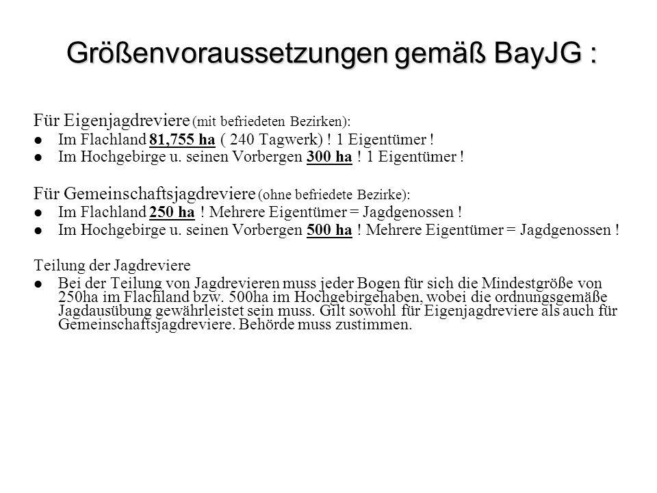 Größenvoraussetzungen gemäß BayJG : Für Eigenjagdreviere (mit befriedeten Bezirken): Im Flachland 81,755 ha ( 240 Tagwerk) ! 1 Eigentümer ! Im Hochgeb