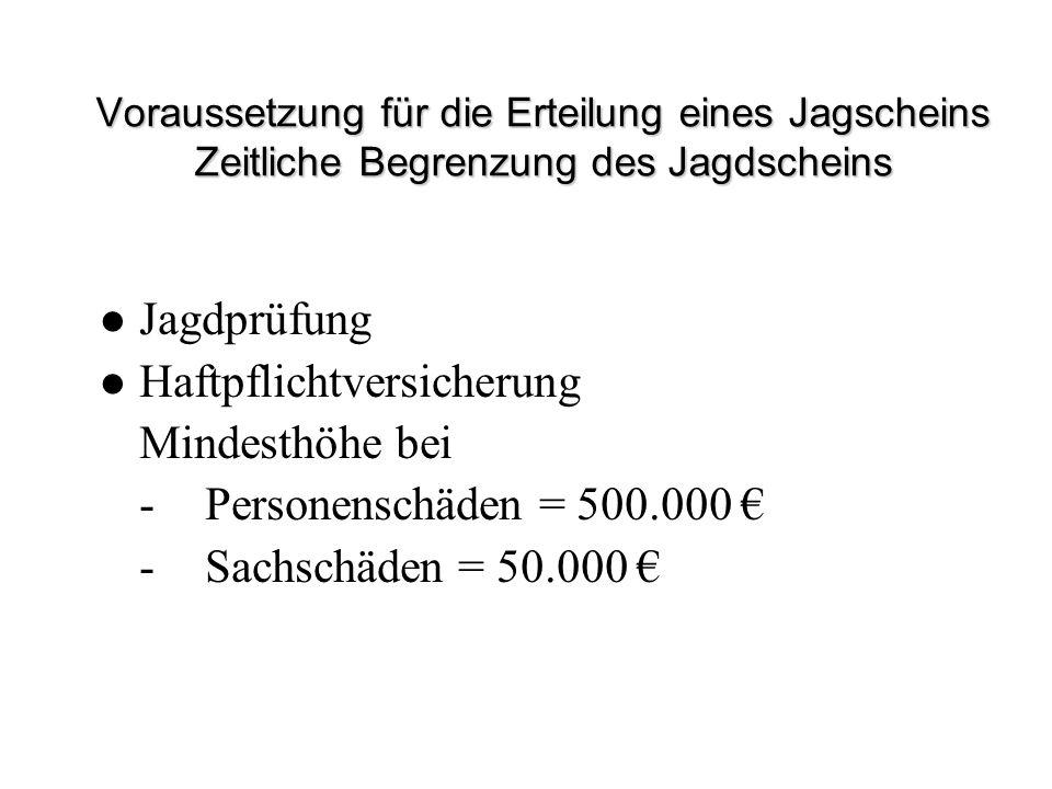 Voraussetzung für die Erteilung eines Jagscheins Zeitliche Begrenzung des Jagdscheins Jagdprüfung Haftpflichtversicherung Mindesthöhe bei -Personensch