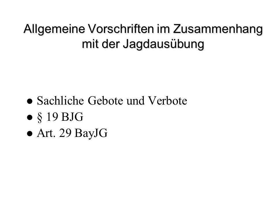 Allgemeine Vorschriften im Zusammenhang mit der Jagdausübung Sachliche Gebote und Verbote § 19 BJG Art. 29 BayJG