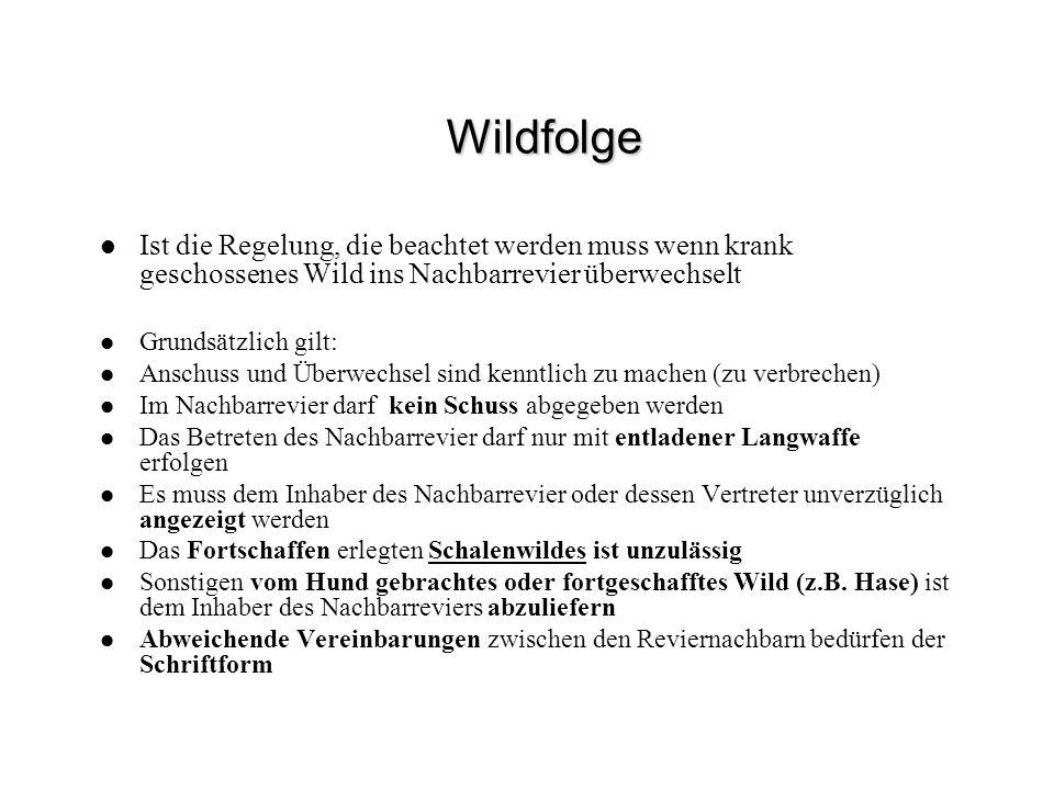 Wildfolge Ist die Regelung, die beachtet werden muss wenn krank geschossenes Wild ins Nachbarrevier überwechselt Grundsätzlich gilt: Anschuss und Über