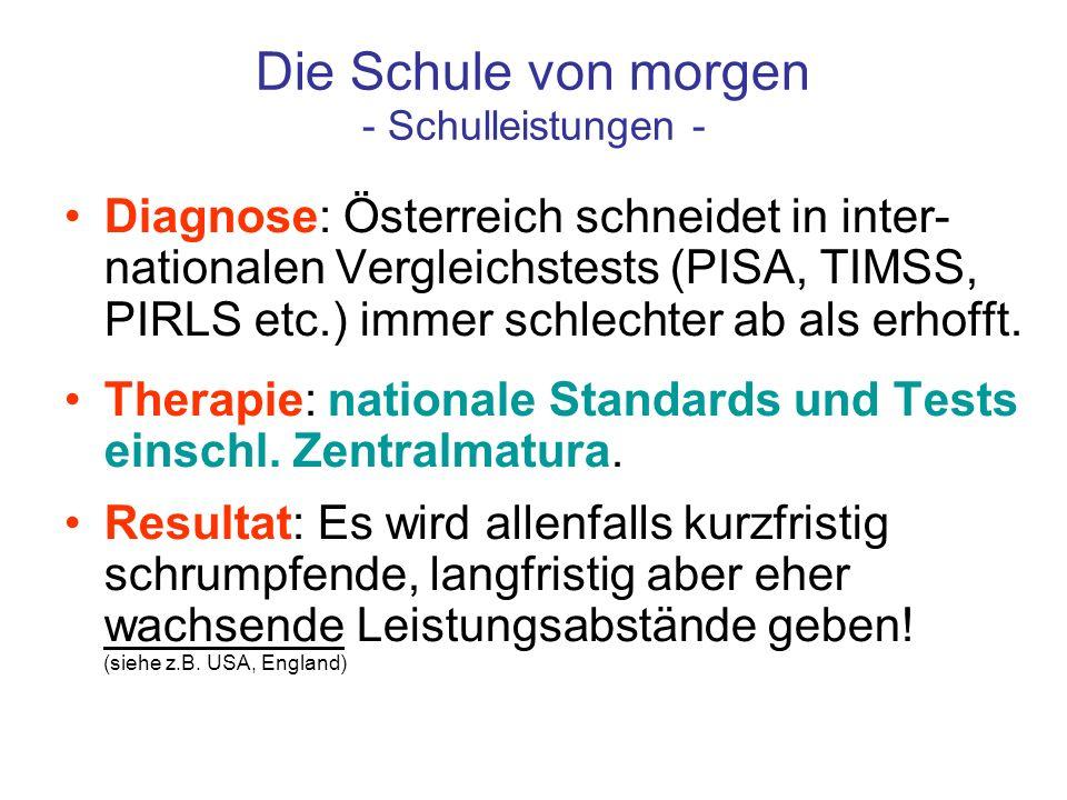 Die Schule von morgen - Schulleistungen - Diagnose: Österreich schneidet in inter- nationalen Vergleichstests (PISA, TIMSS, PIRLS etc.) immer schlecht