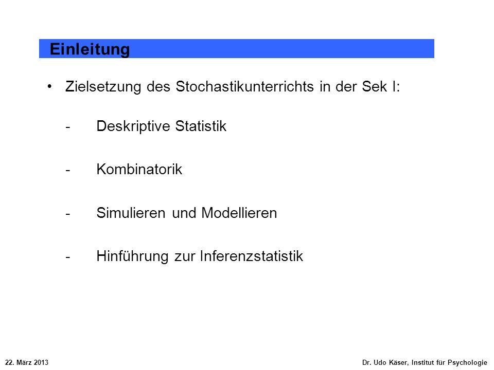 Zielsetzung des Stochastikunterrichts in der Sek I: - Deskriptive Statistik - Kombinatorik -Simulieren und Modellieren - Hinführung zur Inferenzstatis