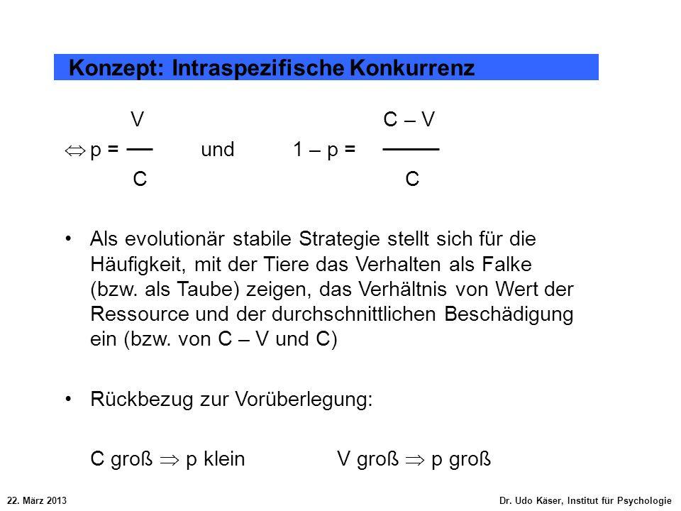 22. März 2013 Dr. Udo Käser, Institut für Psychologie Konzept: Intraspezifische Konkurrenz V C – V p = und 1 – p =C Als evolutionär stabile Strategie