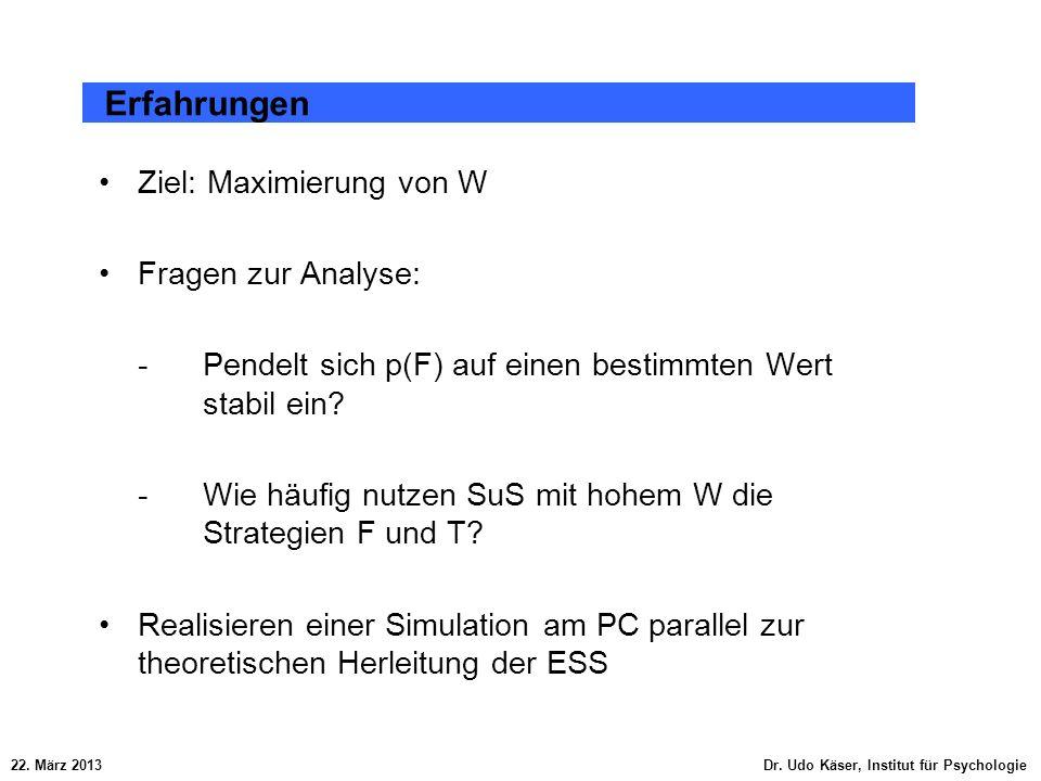 Ziel: Maximierung von W Fragen zur Analyse: -Pendelt sich p(F) auf einen bestimmten Wert stabil ein? -Wie häufig nutzen SuS mit hohem W die Strategien