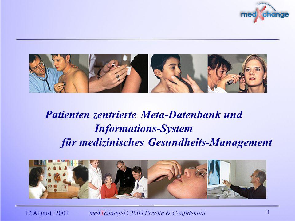 12 August, 2003medXchange© 2003 Private & Confidential 1 Patienten zentrierte Meta-Datenbank und Informations-System für medizinisches Gesundheits-Man