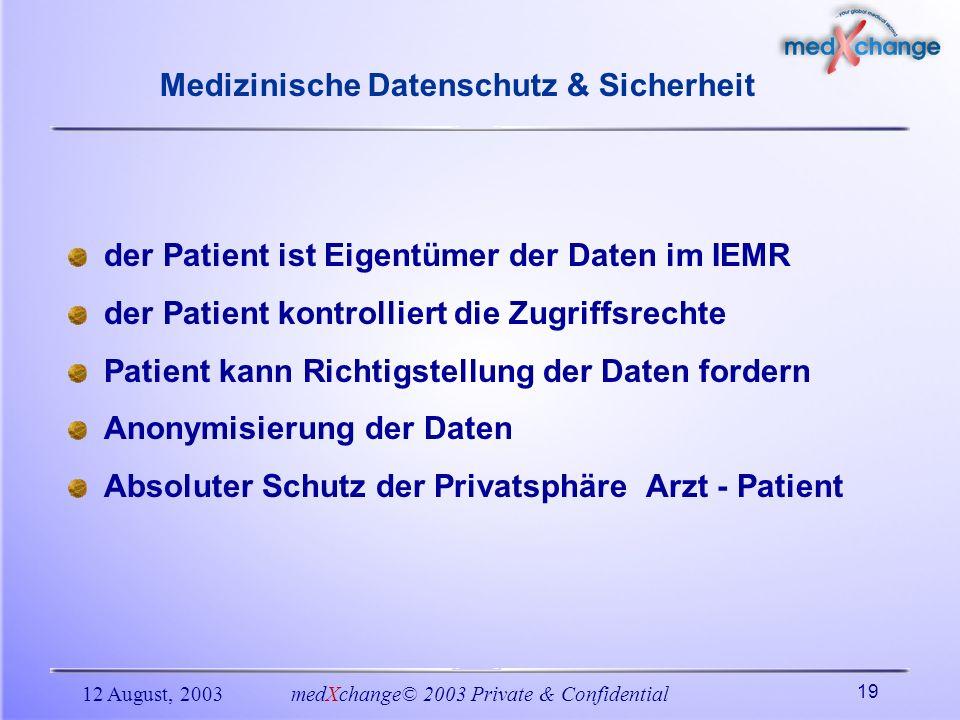 12 August, 2003medXchange© 2003 Private & Confidential 19 Medizinische Datenschutz & Sicherheit der Patient ist Eigentümer der Daten im IEMR der Patie