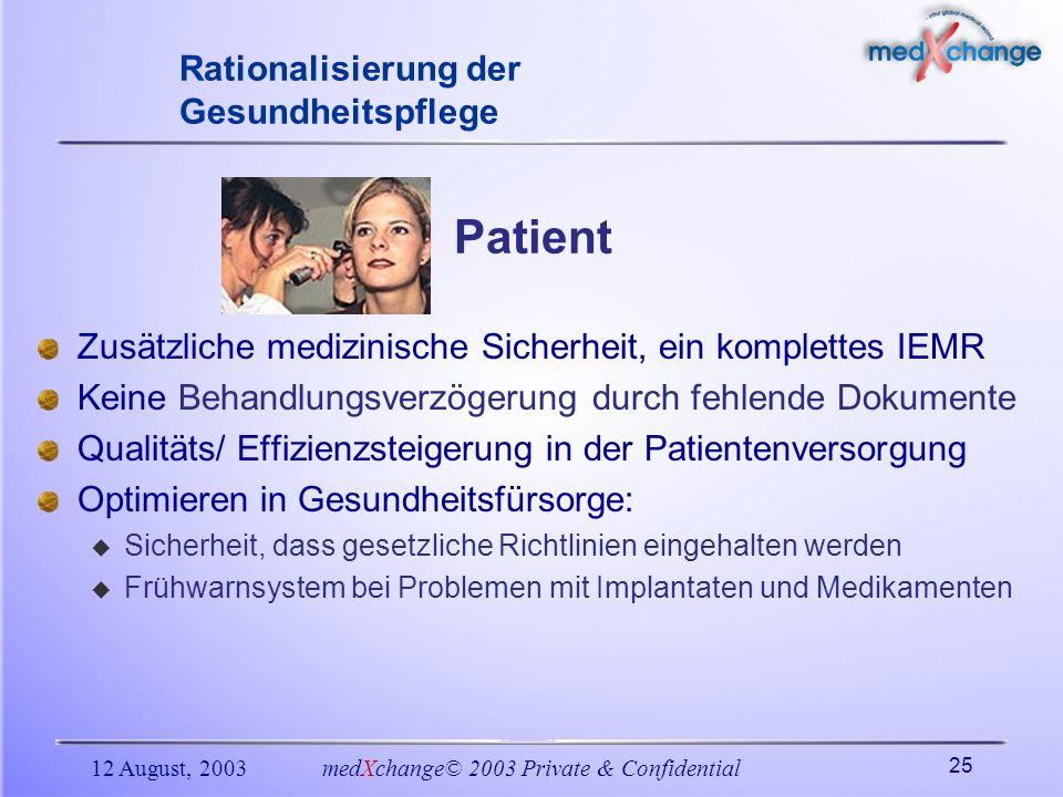 12 August, 2003medXchange© 2003 Private & Confidential 25 Rationalisierung der Gesundheitspflege Patient Zusätzliche medizinische Sicherheit, ein komp
