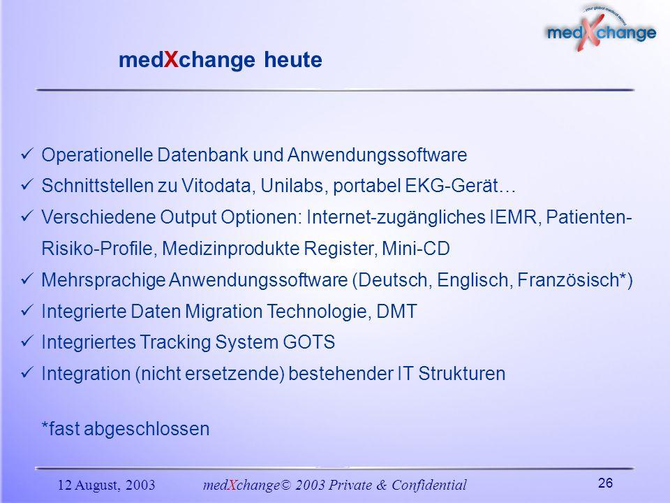 12 August, 2003medXchange© 2003 Private & Confidential 26 Operationelle Datenbank und Anwendungssoftware Schnittstellen zu Vitodata, Unilabs, portabel