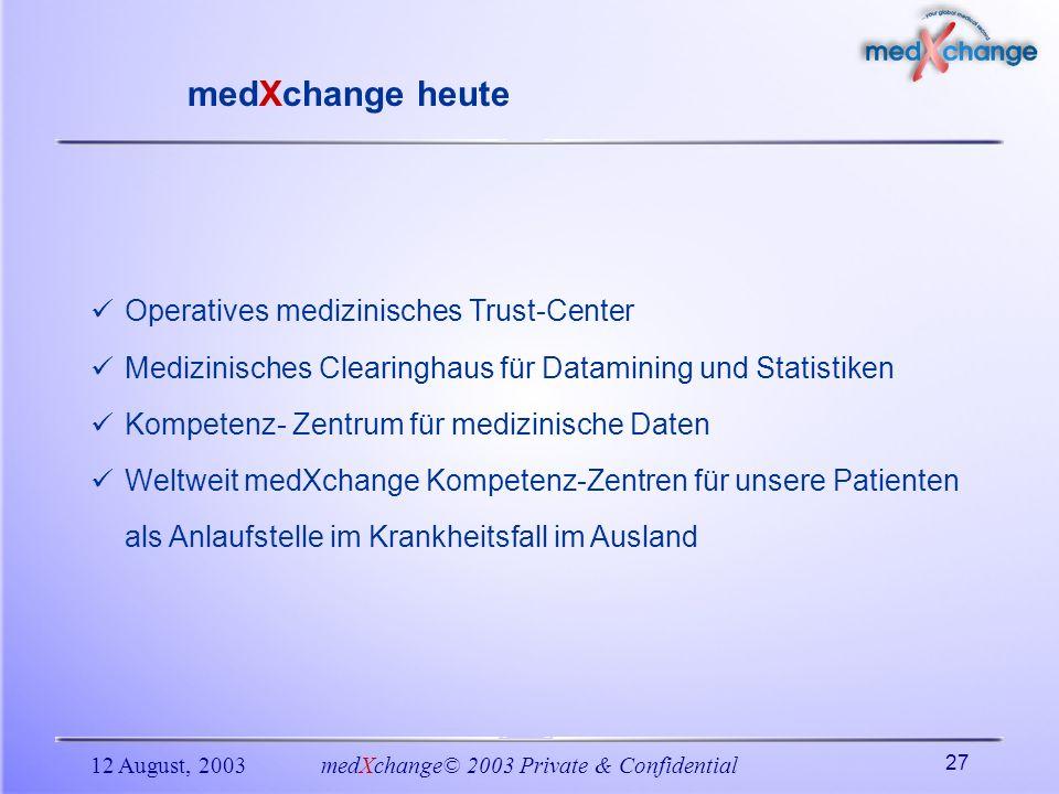 12 August, 2003medXchange© 2003 Private & Confidential 27 Operatives medizinisches Trust-Center Medizinisches Clearinghaus für Datamining und Statisti