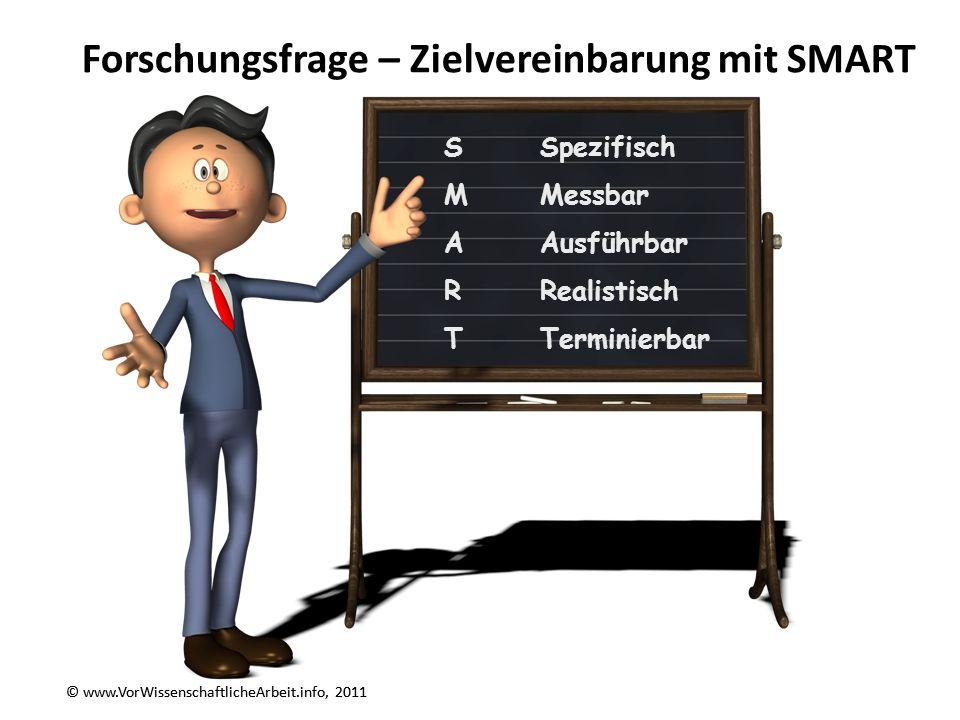 © www.VorWissenschaftlicheArbeit.info, 2011 Forschungsfrage – Zielvereinbarung mit SMART © www.VorWissenschaftlicheArbeit.info, 2011 SSpezifisch MMess