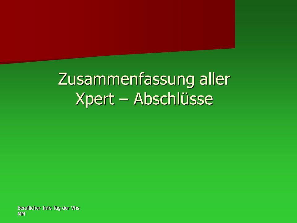 Beruflicher Info Tag der Vhs MM Zusammenfassung aller Xpert – Abschlüsse